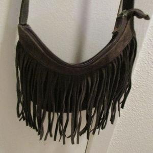 Giannini faux suede fringe purse boho hippie 037